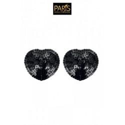 Caches-tétons coeur Pompon - Noir